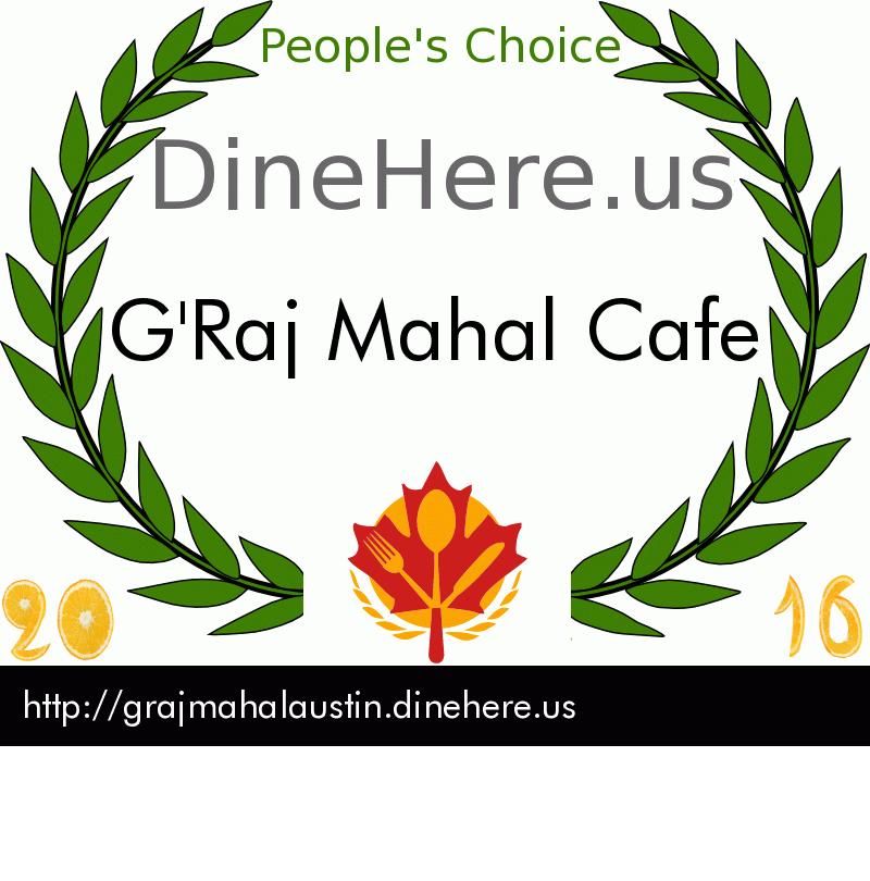 G'Raj Mahal Cafe DineHere.us 2016 Award Winner